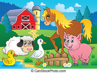 Farm animals theme image 5 - eps10 vector illustration.