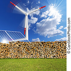 Renewable Energies Concept - Solar panels, firewood logs in...