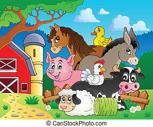 Farm animals topic image 3 - eps10 vector illustration.