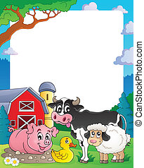 Farm theme frame 2 - eps10 vector illustration.
