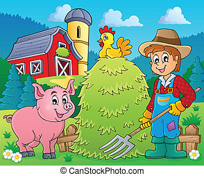 Farmer theme image 2 - eps10 vector illustration