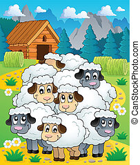 Sheep theme image 4 - eps10 vector illustration.