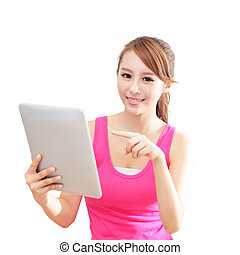 girl happy using tablet pc computer