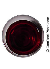 wine over - an overhead view of glass of wine with clipping...