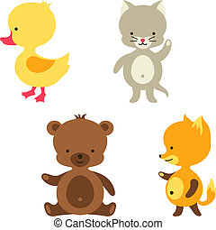 Little cute baby cat, bear, fox and duck