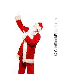 Santa Claus showing with gestures something isolated on...