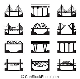 Various types of bridges - vector illustration