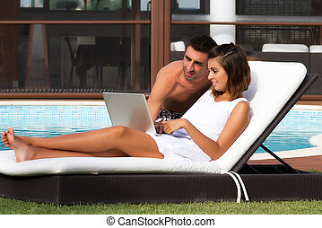 Young couple working