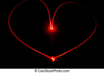 Red heart light painting - Light painting red heart with...