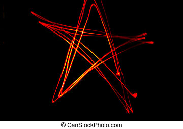 Red star shaped light streaks made by light painting