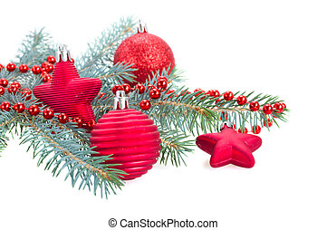 fir tree branch and red   decorations