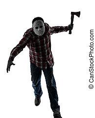 man serial killer with mask silhouette full length