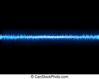 Blue sound wave on white background + EPS10 vector file
