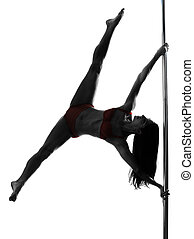 woman pole dancer silhouette - one caucasian woman pole...