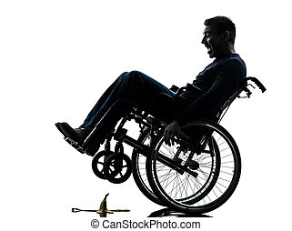 fearless handicapped man in wheelchair silhouette - one...