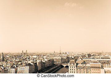 antique city view in paris
