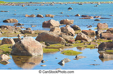 Hudson Bay Low Tide Stone Desert - View over the stone...