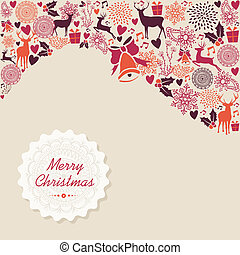 Merry Christmas vintage elements background vector file.