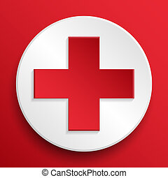 red cross medical button symbol - First aid medical button...