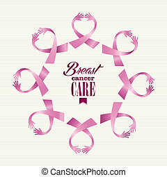 Breast cancer awareness ribbon women hands circle shape. -...