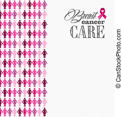 Breast cancer awareness ribbon women figures composition. -...