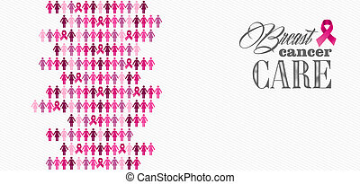 Breast cancer awareness ribbon women figures composition -...