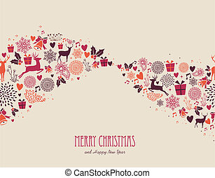 Merry Christmas vintage elements composition vector file.