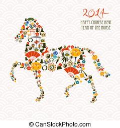 Chińczyk, nowy, rok, koń, skład, Wektor, rząd