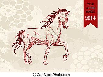 Chinese new year Horse hand drawn vector file.