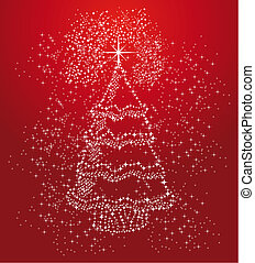 Merry Christmas stars tree shape composition vector file.