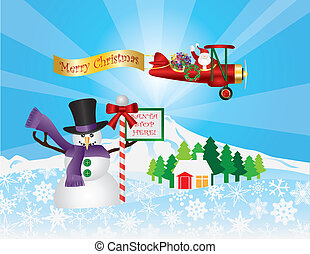 Santa in Plane Flying Over Snow Scene - Santa Claus in...