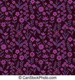 Seamless pattern with purple flowers