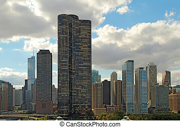 Skyline of Chicago, Illinois near navy Pier - Lake Point...