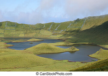 Volcano crater with lake on Azores Portugal - Volcano crater...