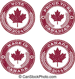 Grunge Canada Maple Leaf Emblems - Set of grunge Canada...