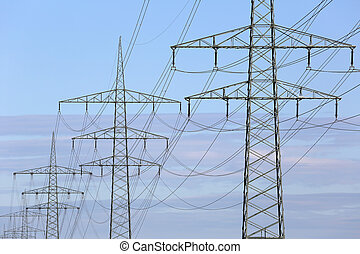 Power lines during sunset, electricity and energy topic