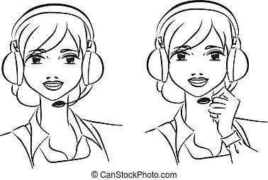 Woman operator in support team - Vector illustration of...