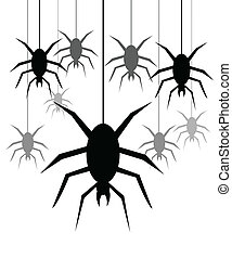 Spiders hanging on a web