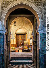 Fes, typical moroccan door to the old medina