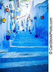 Chefchaouen, Morocco - The beautiful blue medina of...