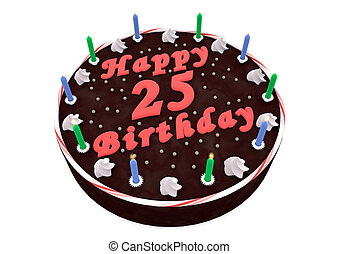 chocolate cake for 25th birthday - chocolate cake with Happy...