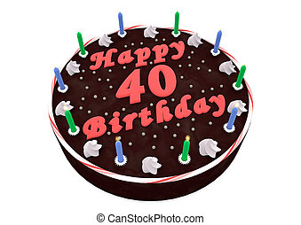chocolate cake for 40th birthday - chocolate cake with Happy...