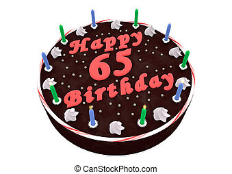 chocolate cake for 65th birthday - chocolate cake with Happy...