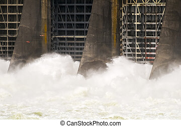 Bonneville Dam and Lock - Water from the Columbia River rush...