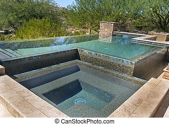 Modern zero horizon swimming pool