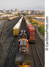 Railroad Yards Boxcars Cargo Containers Train Tracks Downtown