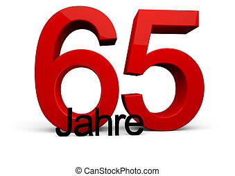 """65 Jahre - a number with the caption """"Jahre"""""""