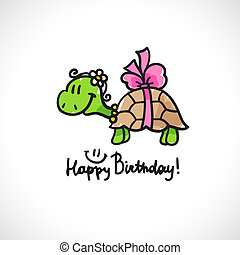 birthday card with cartoon turtle and bow