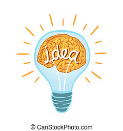 creative light bulb - Creative light bulb with brain...