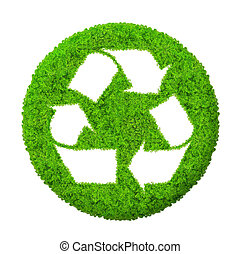 Green recycle symbol isolated
